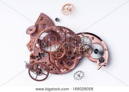 Parts of broken watch mechanism gearwheel, spring