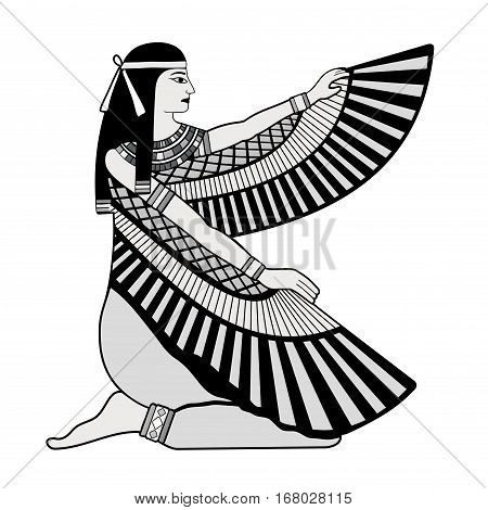 Vector illustration of Egyptian national drawing. Goddess Isis.
