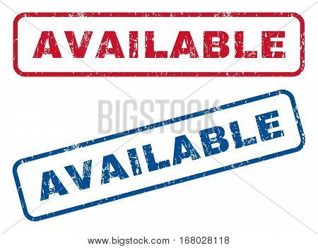 Available text rubber seal stamp watermarks. Vector style is blue and red ink tag inside rounded rectangular banner. Grunge design and scratched texture. Blue and red stickers.