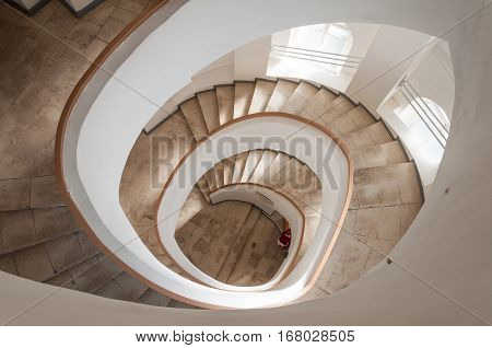 VLADIMIR RUSSIA - JUNE 7 2015: Spiral Staircase inside of the Water tower in Vladimir. Golden Ring of Russia