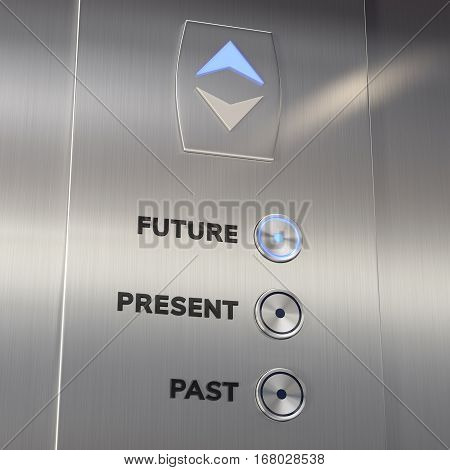 Time machine elevator panel with Future button pushed