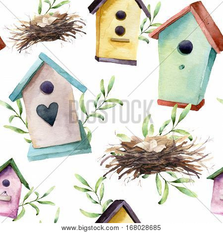 Watercolor pattern with birdhouse, nest with eggs and greenery. Hand painted spring ornament with nesting box and herb branch isolated on white background. For design, print, fabric.