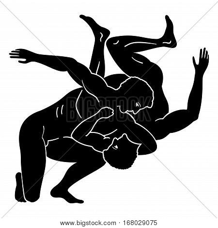 Greek style drawing.Two naked men fighting. Isolated blask drawing on a white background.
