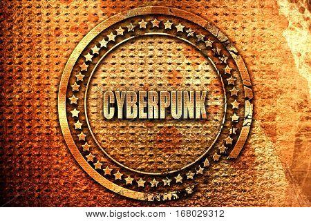 cyberpunk, 3D rendering, grunge metal stamp
