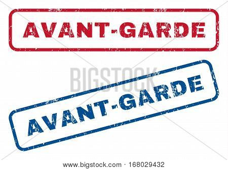 Avant-Garde text rubber seal stamp watermarks. Vector style is blue and red ink tag inside rounded rectangular shape. Grunge design and dust texture. Blue and red emblems.