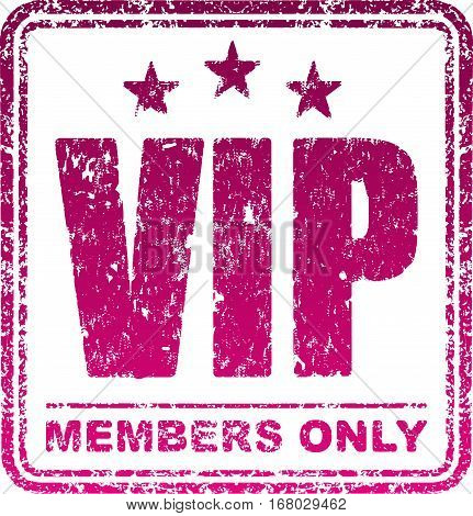 Square rubber stamp Vip. Members only. Vector illustration.