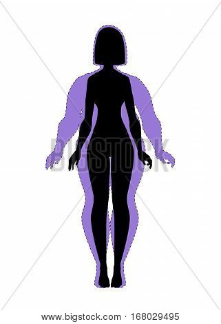 Fat and slim girl. Female body before and after weight loss, diet and fitness. Woman vector silhouette