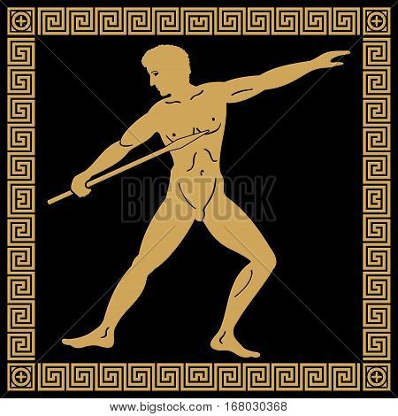 Greek style drawing. Naked men throwing a spear and national ornament. Gold drawing on a black background.