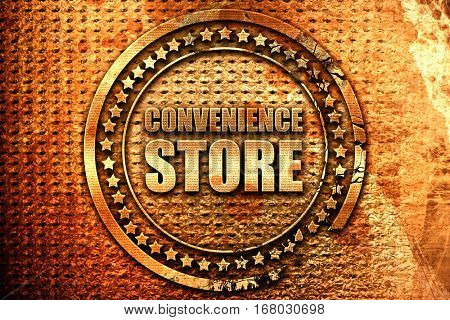 convenience store, 3D rendering, grunge metal stamp
