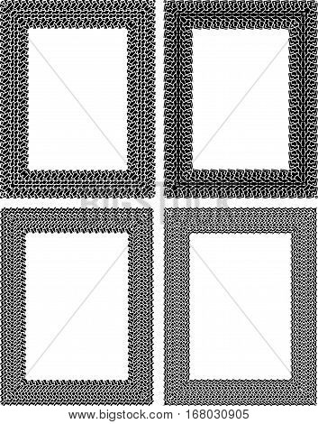 Set of 4 black vector rectangular frames in tire traces style