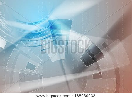Sci-fi bright abstract technology background with binary code. Vector geometric digital graphic design  eps 10