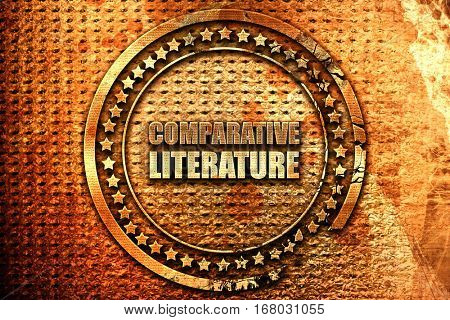 comparative literature, 3D rendering, grunge metal stamp