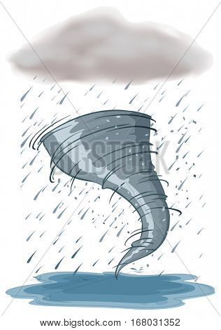 Hurricane and rainstorm on white background illustration