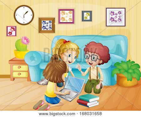 Kids working on computer at home illustration