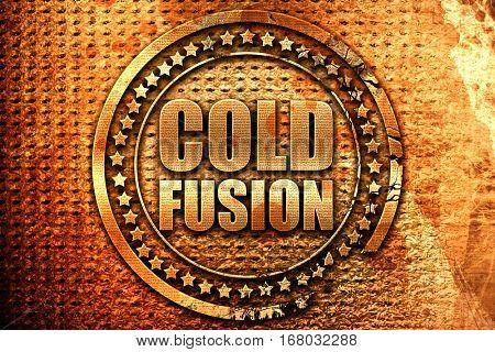 cold fusion, 3D rendering, grunge metal stamp