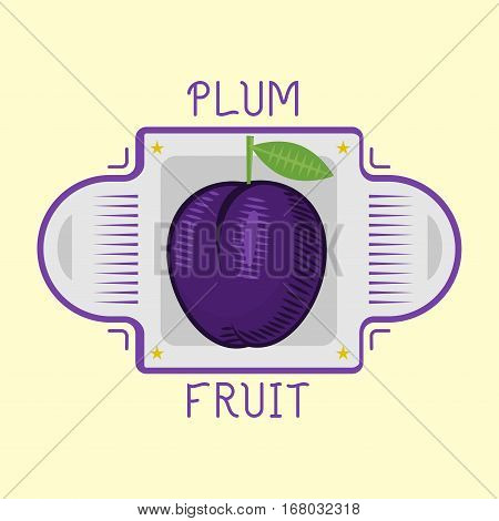 Fresh juicy red violet plum fruit with bright green leaf isolated suited for recipe book design. Nature design diet vegetarian label. Cartoon nutrition poster purple delicious.