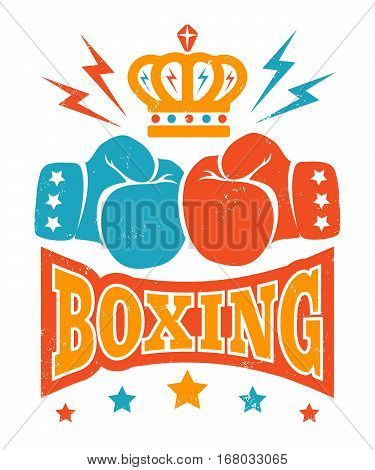 Vector vintage logo for boxing with gloves and crown. Retro boxing logo.