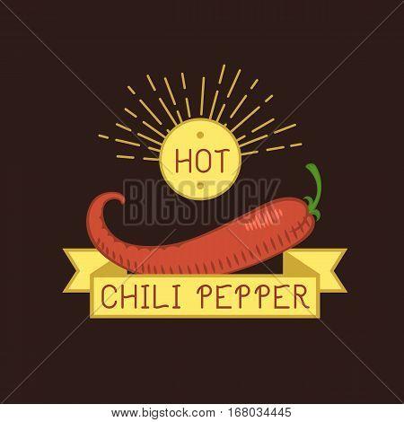Red chili pepper badge food vegetable ingredient paprika spice vector illustration. Fresh vegetarian color organic dieting tasty spice agriculture logo.