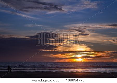Sunset On a Summers Evening at Muriwai Beach Auckland New Zealand