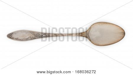 Vintage Rusted Silverware, Old Decorated Spoon Isolated On A White, Top View, Close Up.