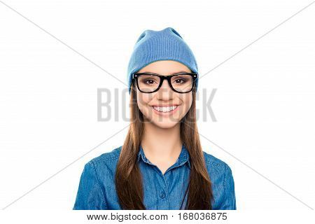Portrait Of Toothy Happy Girl In Blue Cap And Glasses