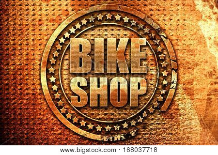 bike shop, 3D rendering, grunge metal stamp