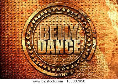 belly dance, 3D rendering, grunge metal stamp