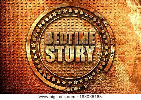 bedtime story, 3D rendering, grunge metal stamp
