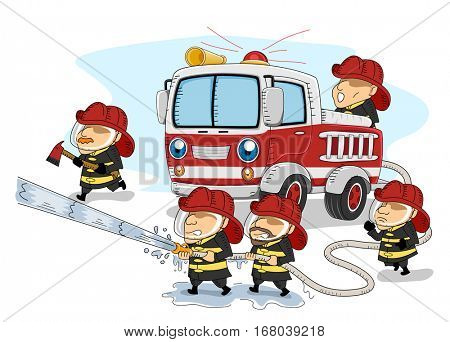 Illustration of a Group of Firemen Working Together to Put Out a Large Fire