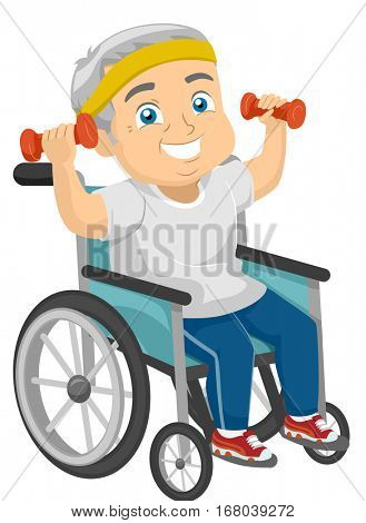 Illustration of a Physically Disabled Elderly Man Working Out from His Wheelchair