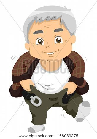 Illustration of a Chubby Elderly Man in a Brown Cardigan Pulling Up His Trousers