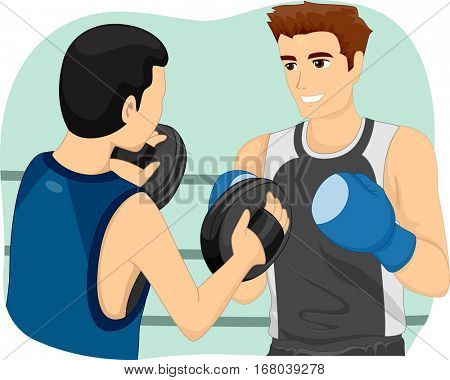 Illustration of a Boxing Instructor Blocking the Punches of His Trainee as He Teaches Him How to Box