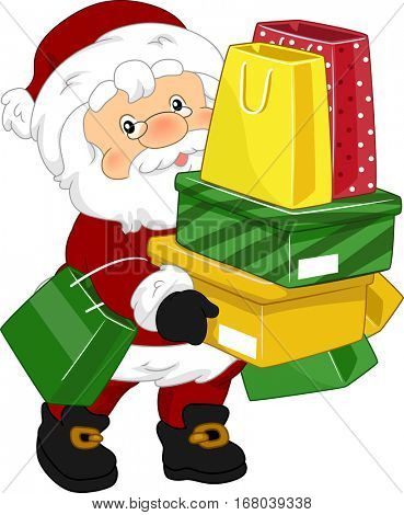 Christmas Illustration Featuring a Man Dressed as Santa Claus Carrying a Stack of Shopping Bags