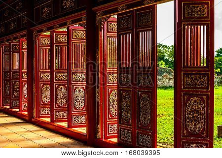 Red doors in Hue Forbidden city, the imperial palace