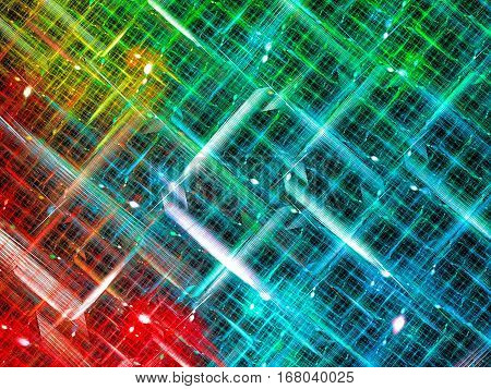 Fesive fractal background - chaos interwoven stripes. Bright backdrop for banners, posters, covers. Abstract computer-generated image - unusual grid.