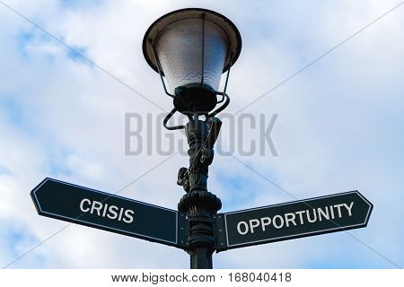 Crisis Versus Opportunity Directional Signs On Guidepost