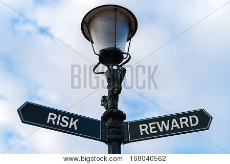 Risk Versus Reward Directional Signs On Guidepost