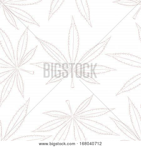 Cannabis leaves seamless pattern over black background. Medical marijuana, legalize culture concept.