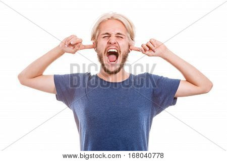 Angry Man Closing Ears With Fingers
