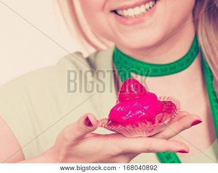 Woman Holding Strawberry Sweet Cupcake