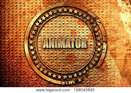 animator, 3D rendering, grunge metal stamp