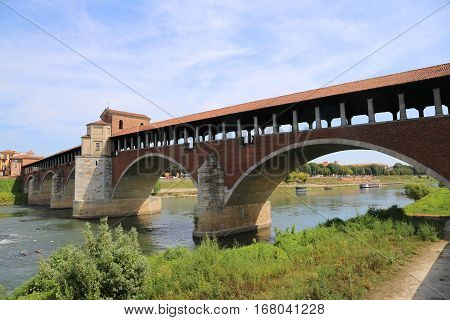 Ancient Bridge Over The Ticino River In Pavia