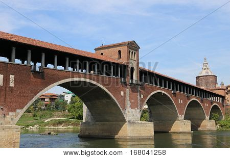 Historical Wooden Bridge Over The Ticino River In Pavia