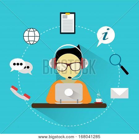Customer support manager with headphones and different icons around him on blue background. Flat design concept vector illustration