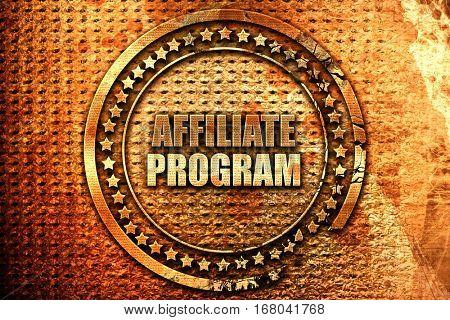 affiliate program, 3D rendering, grunge metal stamp