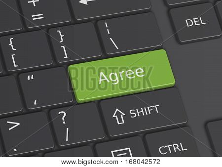A 3D illustration of the word Agree written on a green key from the keyboard