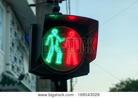 Funny traffic light in Hue, Vietnam - looks a bit like they are fighting