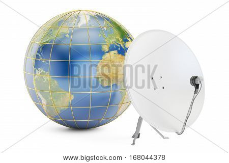 Satellite dish with earth global telecommunications concept. 3D rendering isolated on white background
