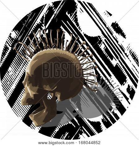 Punk skull. An vector illustration. Mixed media.