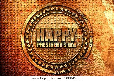 happy president's day, 3D rendering, grunge metal stamp